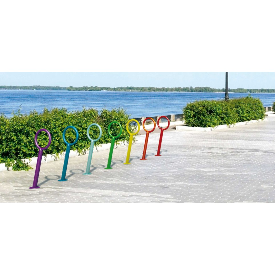 HEAD single bike rack in powder coated steel for ingrounding