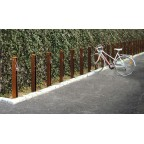 GUARDIA bike rack in corten steel with insert in stainless steel, for ingrounding