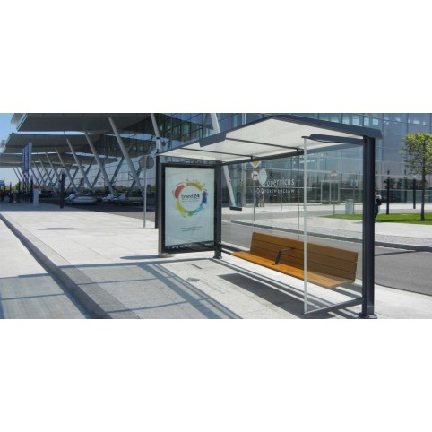 PENSILIS 1722 bus shelter con with enlighted left side advertising display,