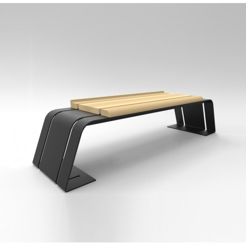 ASH BENCH  (galvanized iron, varnished wood)