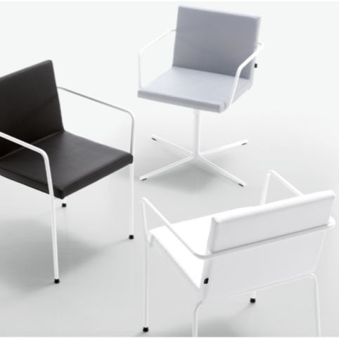 ALN 4 legs armchair in white ALN0001BL
