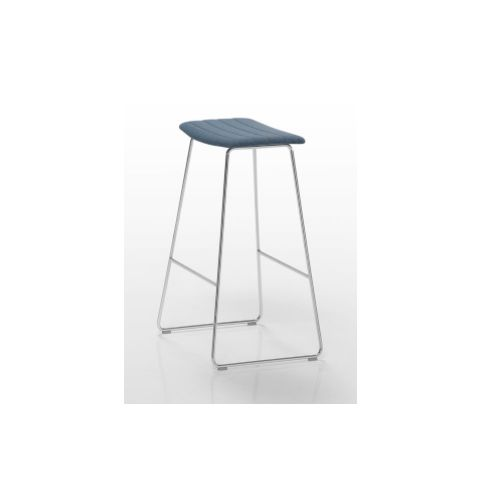 TAO high stool with plain upholstered seat in white TAO0020BL