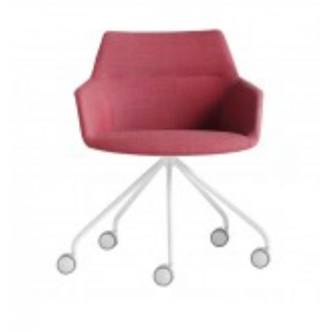 DUNAS XS armchair with swivel base on castors in white DUN0130BL