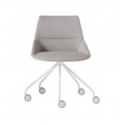 DUNAS XS chair with swivel base on castors in white  DUN0230BL