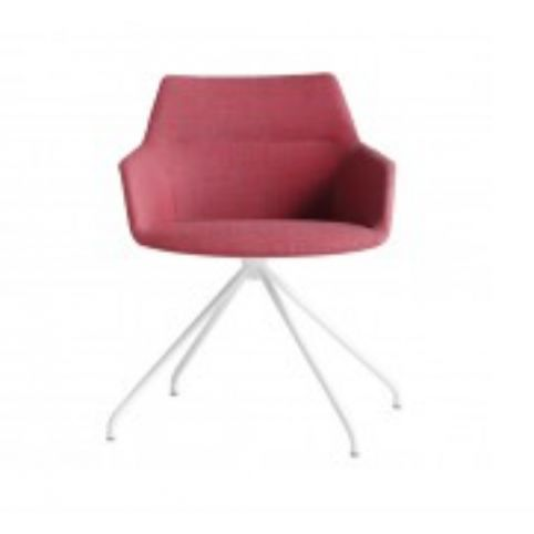 DUNAS XS armchair with trestle swivel base in white DUN0110BL