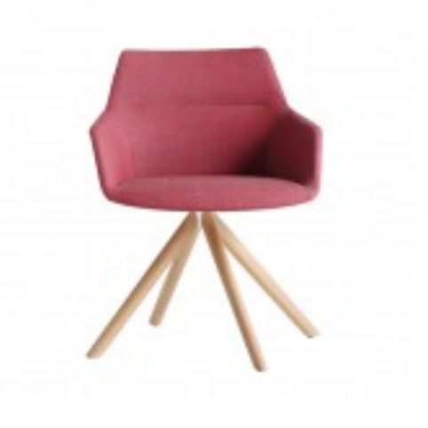 DUNAS XS armchair with wooden swivel base in oak DUN0140MA