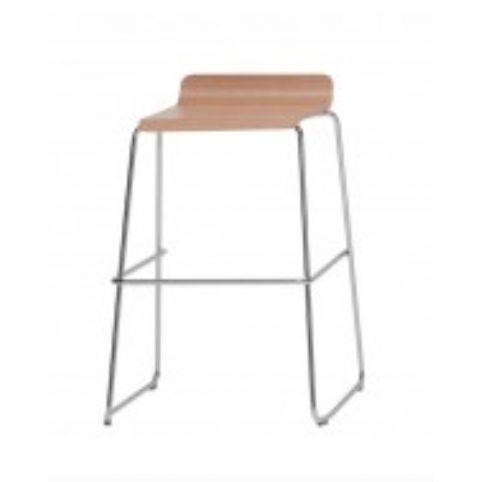 GINGER medium stool with wooden seat in beech with white finish GIN0141BL