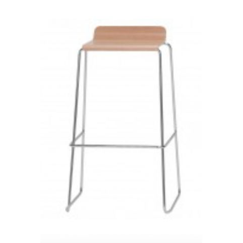 GINGER high stool with wooden seat in beech with white finish GIN0041BL