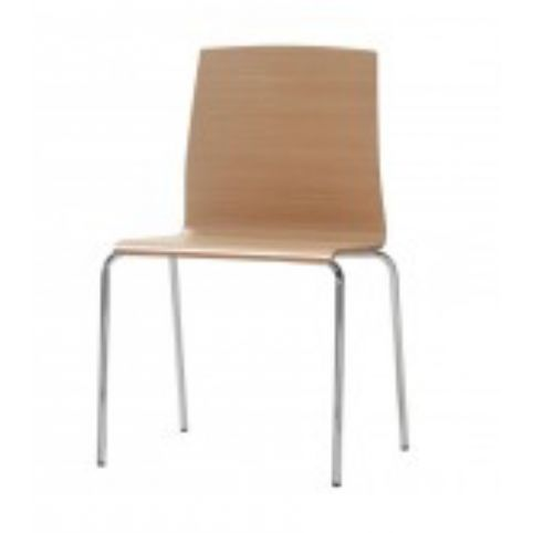 GINGER 4 legs chair with wooden shell in white beech GIN0011BL