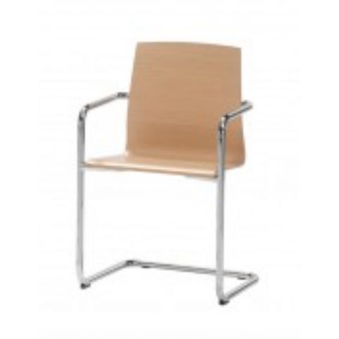 GINGER cantilever armchair with wooden shell in white beech GIN0028BL