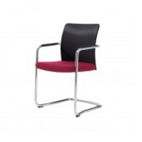 ITEK cantilever armchair in white paint and black mesh  ITK0020BL