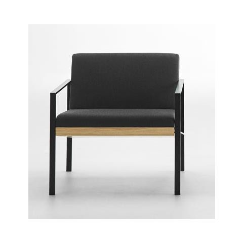 LUND wooden 1 seater sofa in black LUN0110NG
