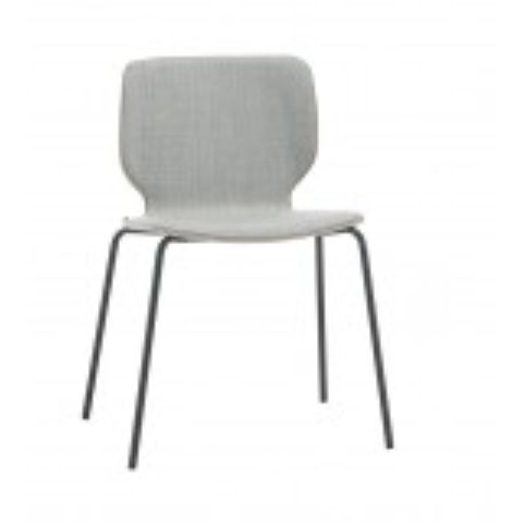 NIM 4 legs white chair with upholstered shell NIM0120BL