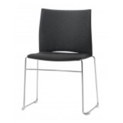 SLIM chair upholstered with horizontal seams with right writing tablet SLI0052CR