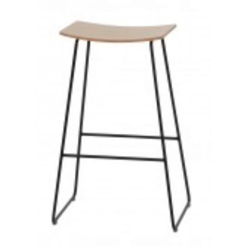 TAO high stool with wooden seat in white TAO0010BL