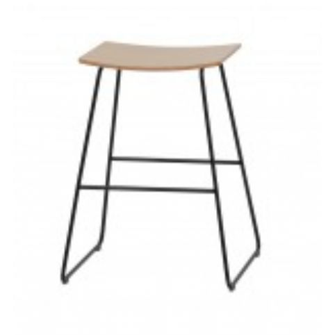 TAO medium stool with wooden seat in white TAO0110BL