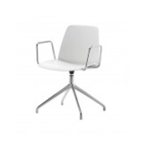 UNNIA chair with 4 spoke swivel base with arms in white UNN0060BL