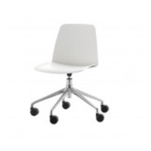 UNNIA chair with 5 spoke swivel base with casters in white UNN0040BL