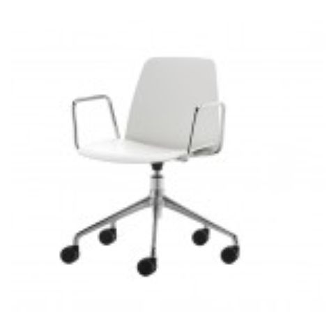 UNNIA chair with 5 spoke swivel base with casters and arms in white UNN0070BL