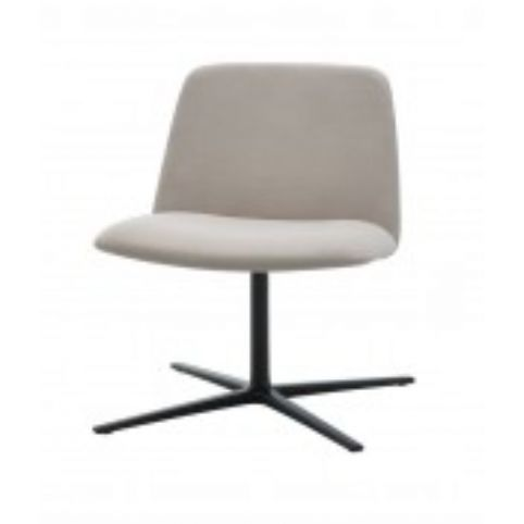 UNNIA SOFT easy chair with 4 spokes swivel base in white UNN0410BL