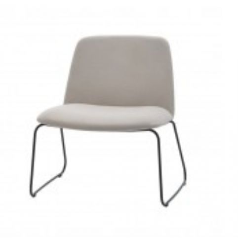 UNNIA SOFT easy chair with rod base in white UNN0430BL