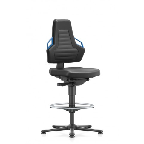 Nexxit on glides with footrests, handles seat height of 570-820 mm, upholstery in black Artificial leather, Ref: 9031-MG01
