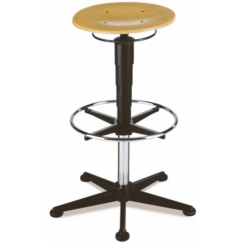 Stool on glides with footrest, seat height of 570-850 mm, beech plywood, Ref: 9469