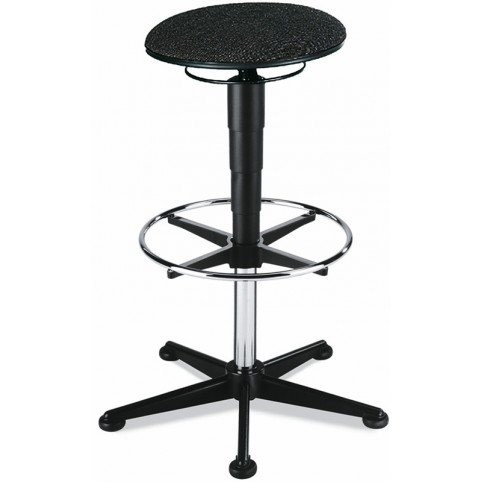 ESD stool on glides with footrest, seat height of 570-850 mm, upholstery fabric, Ref: 9469E