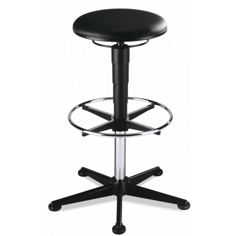 ESD stool on glides with footrest, seat height of 570-850 mm, upholstery Artificial leather, Ref: 9469E