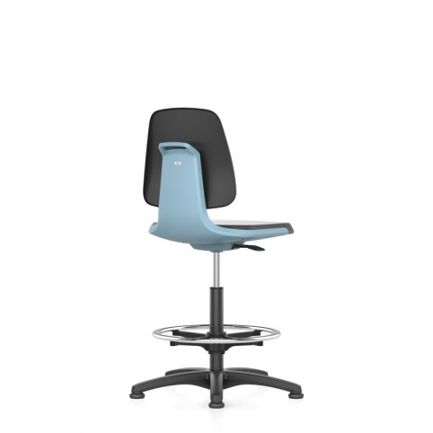 Labsit on glides with footrest, seat height of 520-770 mm, faux leather, colored shell base, Ref: 9121