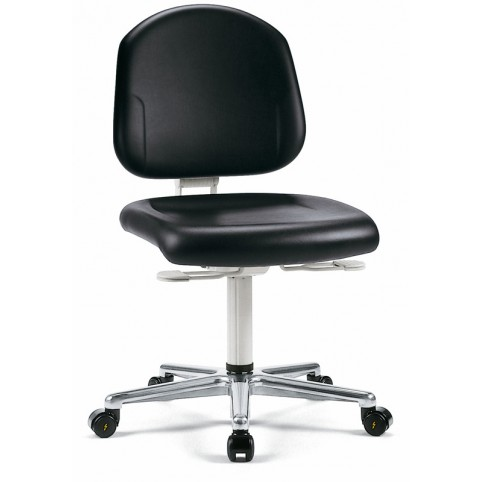 Cleanroom Plus on castors, seat height of 440-565 mm, back rest height 380 mm, upholstery Artificial leather, Ref: 9181