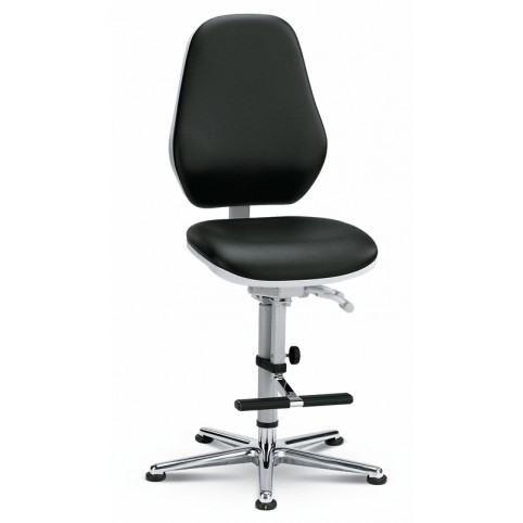 Basic Laboratory glides with footrest, seat height of 630-890 mm, upholstery Artificial leather, Ref: 9143