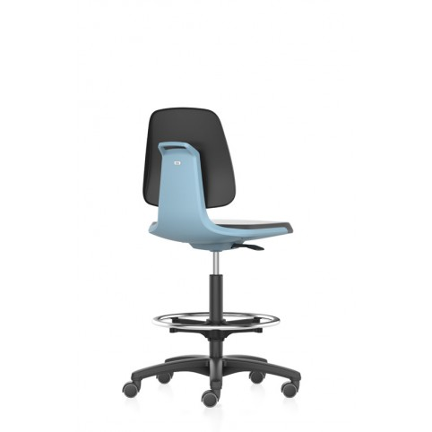 Labsit on self-locking castors with footrest, seat height of 560-810 mm, faux leather, colored seat shell, Ref: 9125-MG01