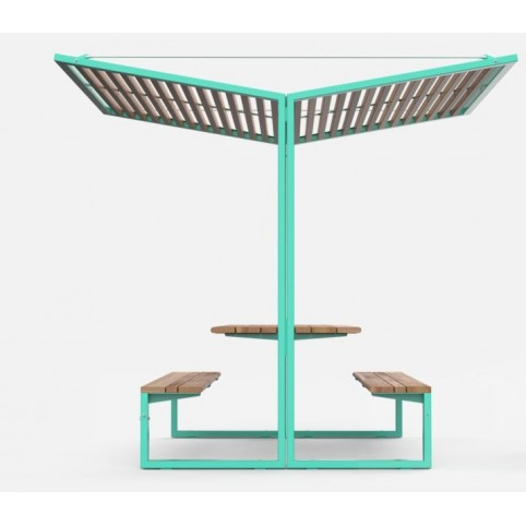 CISON pic-nic table in powder coated steel and exotic wood - 2200x2495 mm