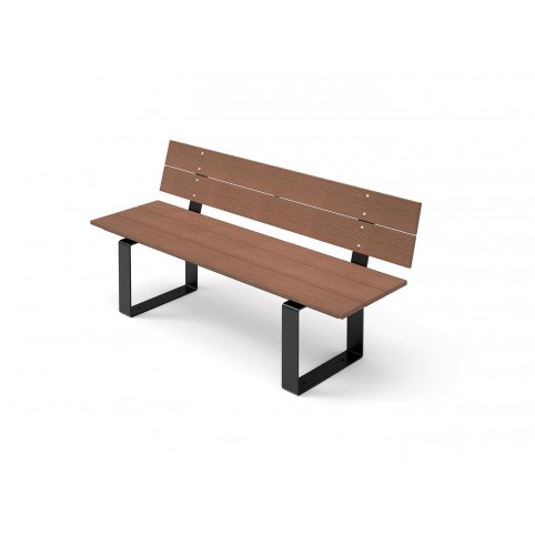 DESE bench with backrest in powder coated steel and WPC 536x1500 H:755 mm