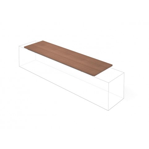 DESE bench for wall mounting in powder coated steel and WPC 430x1500 mm