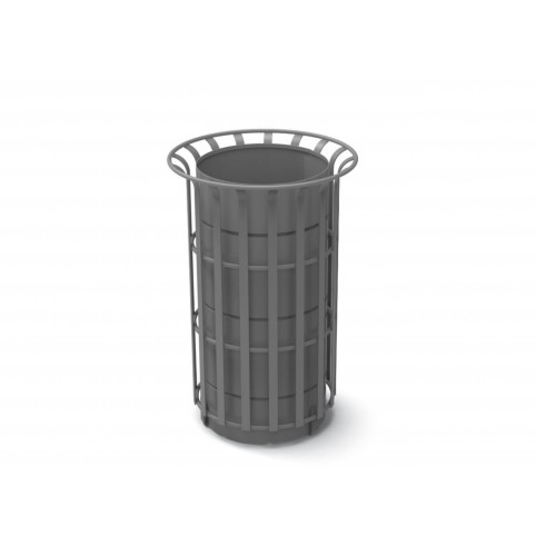 COROLLINO litter bin in powder coated steel with inner liner - 45 lt  D:428 H:660 mm