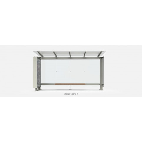 STINGRAY 4325x1500 shelter-4 modules-in powder coated steel with flat roof and glass back walls, wooden bench H : 2386 mm