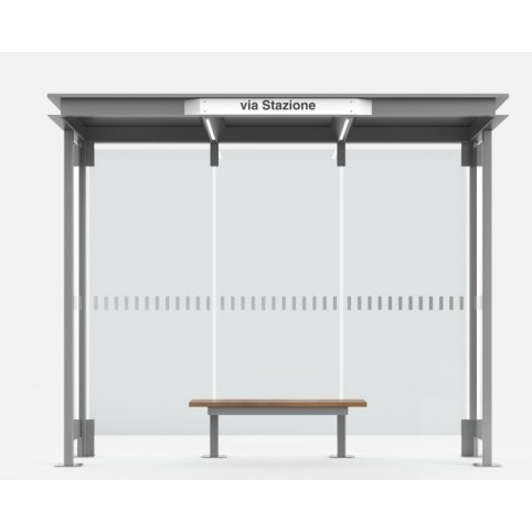 HOREC shelter 3 modules in powder coated steel with flat sheet metal roof and glass back and side walls, wooden bench