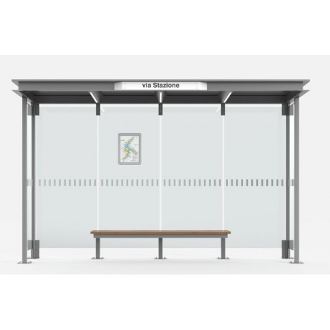 HOREC shelter 4 modules in powder coated steel with flat sheet metal roof and glass back and side walls, wooden bench