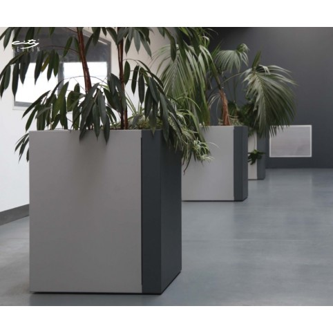 DUO planter in stainless steel  to be assembled with galvanized steel bottom H : 1300 mm