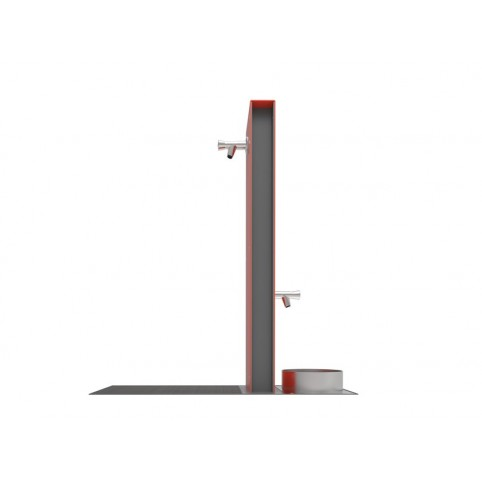 FONTIS DOG fountain in powder coated steel - 890x296 H:990 mm and stainless steel bowl