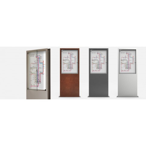 AFFIX double-sided display in powder coated steel with glass openable door 800x106 H:2006