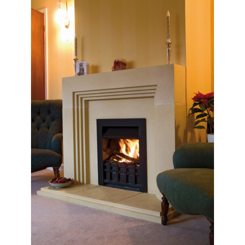 DECO FIREPLACE, REBATED INCLUDING SLIPS AND HEARTH