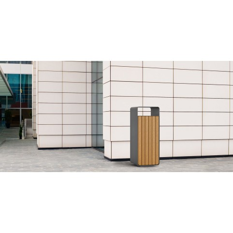 BOX WOOD litter bin in powdercoated steel with door in